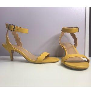 Express Yellow Scalloped Heels